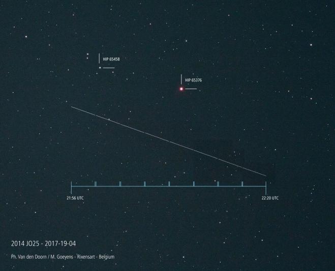 424 astéroïde 2014 jo 25 cie; de rixensart 19 avril 2017 © philippe van den doorn et marie goeyens